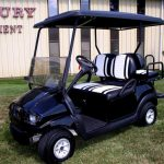 black cart with white striped seats