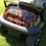 Red Custom Cart with white seats close up of front
