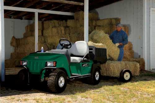 green utility vehicle barn hay
